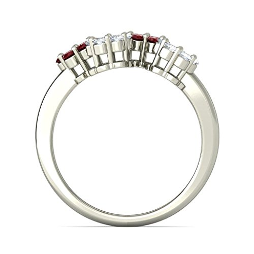 14 K Or blanc, 0,3 CT TW Diamant Blanc (IJ | SI) Rubis et diamant Bague