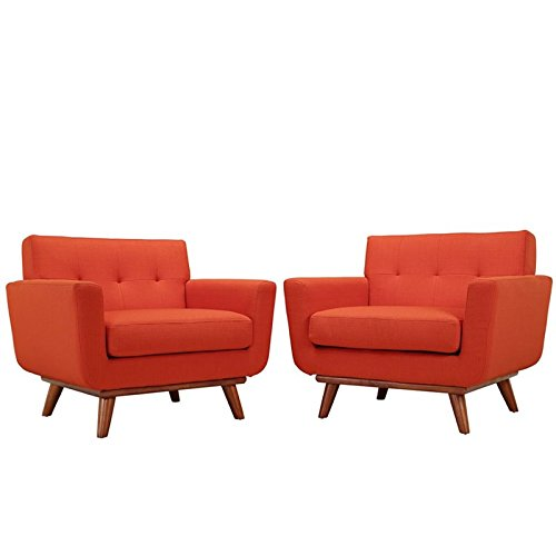 Modway Engage Mid-Century Modern Upholstered Leather Two Armchair Set in Atomic Red by Modway