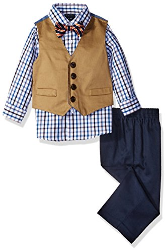 Nautica Boys' Set With Vest, Shirt, Pant, and Bow Tie, White/Navy, 6-9 Months (River Twill Vest)