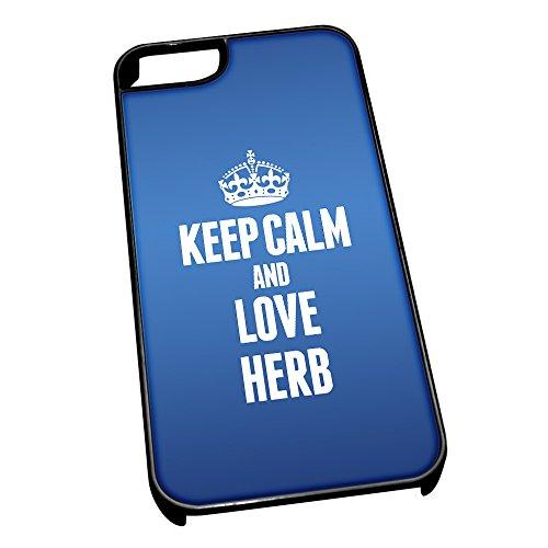 Nero cover per iPhone 5/5S, blu 1168Keep Calm and Love Herb