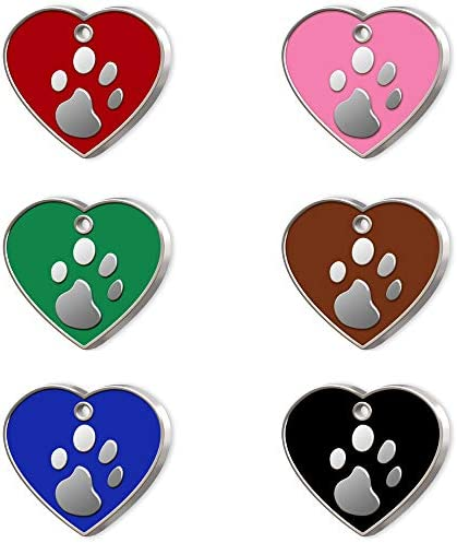 Pet Tag Art Heart Shaped Hand Enamelled Engraved Personalised Pet Tag, Dog Tag, Pet ID Tag