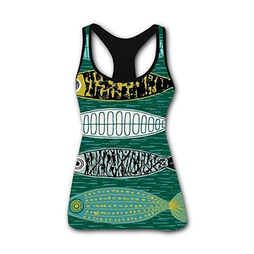 Nice Fish Funny 3D Print Casual Custom Sleeveless Tanks Vest T-Shirt Women Girl L by TuNan