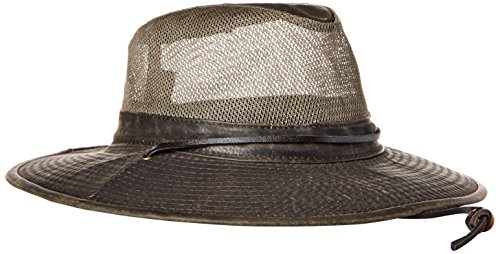 Dorfman Pacific Co. Men's Weathered Cotton Big Brim with Mesh, Brown, Large by Dorfman Pacific