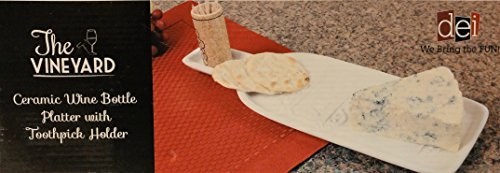 The Vineyard Ceramic Wine Bottle Platter With Toothpick Holder for Appetizers and ()