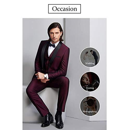 35fa74a6c1d7 ... WEEN CHARM Men's 3-Piece Suit Slim Fit Shawl Lapel One Button Vested Dress  Suit ...