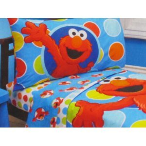 Baby / Child Sesame Street Elmo 4 Piece Toddler Bedding Set With Quilt,  Pillowcase,