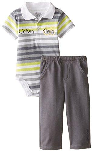 Calvin Klein Baby Boys' Gray Lime Stripes Bodysuit with Pants, Multi, 24 Months