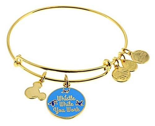 Disney Parks Alex and Ani Whistle While You Work Gold Tone Charm Bangle (Disney Gold Tone Bracelet)