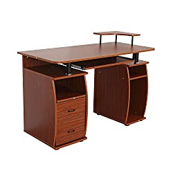 Computer PC Desk Table Work Station w/Printer Shelf Home Office Furniture New Walnut