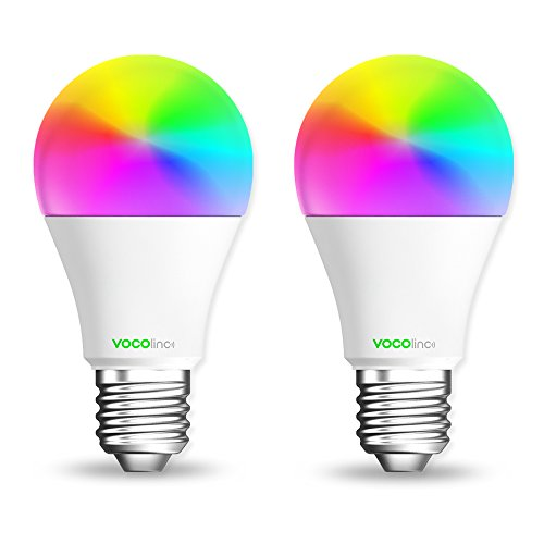 VOCOlinc Smart Wi-Fi LED Light Bulb, Dimmable, Multicolor, Lighting Effects, Works with Apple HomeKit, Alexa, Google Assistant Compatible, No Hub Required, A19 E26, Wi-Fi 2.4GHz, L1 (2 Pack)