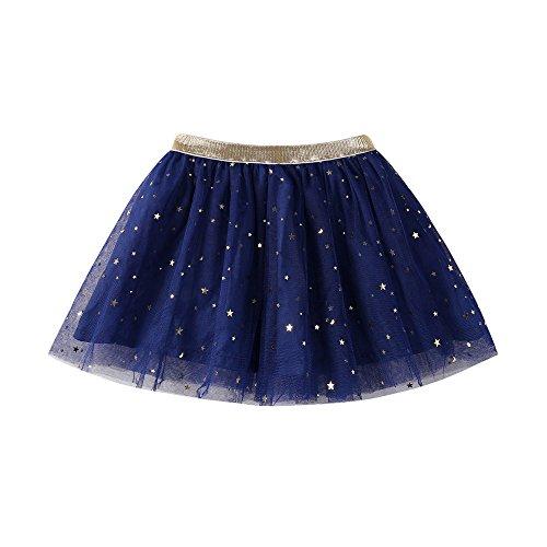 WUAI Baby Girls Rainbow Sparkle Tutu Skirt Super Soft Glitter Sparkle Elastic Puffy Tulle Dance Dress 3-7T(Navy,2-3T)