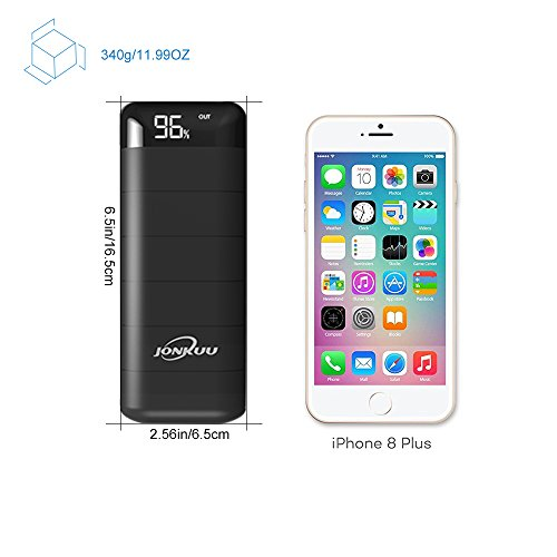 Jonkuu power Bank 15000mAh portable Charger External Battery Pack 2 Port feedback 2 Usb result utilizing shrewd Led Digital power show for Apple iPhone7 Plus iPad Pro Galaxy S8 and more Black External Battery Packs