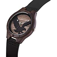 AIKURIO Man's Wooden Wrist Watches Analog Quartz with Leather Strap and 3D Engraving Pattern AKR011 (Eagle Pattern)