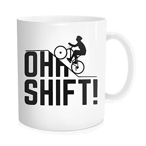(Hasdon-Hill Oh Shift Cycling Coffee Mug, Cool Triathlon Biking Rider Gift With Bicycle, Big Hill And Word Play For Biker, Bike Lover Or Cyclist Who Loves Riding Bikes Uphill In)