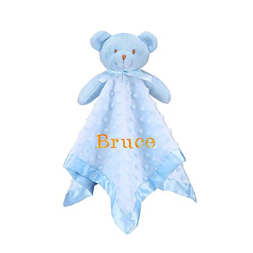 - Pro Goleem Personalized Teddy Bear Baby Lovey Customized Stuffed Plush Lovie/Security Blanket for Boys and Girls Minky Dot Best Gift for Newborn/Infant/Toddler (Personalized, 15'')