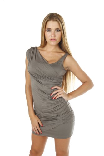 New Sexy Viscose Stretch Ruched Elegant Designer Dress (Small, Black)