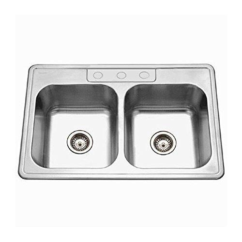 Houzer 3322-9BS3-1 Glowtone Series Topmount Stainless Steel 50/50 Double Bowl Kitchen Sink, 9-Inch Deep by (1 Glowtone Double Bowl)