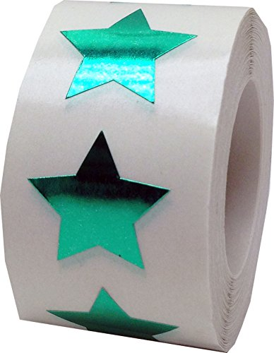 Metallic Green Star Stickers, 3/4 Inch Wide, 500 Labels on a Roll