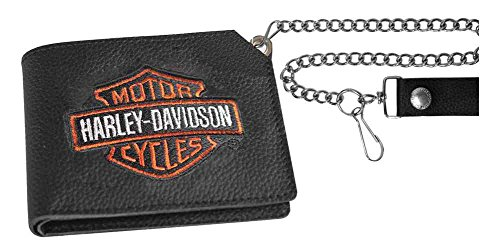 Harley Davidson Embroidered Trucker Wallet XML4341 ORGBLK