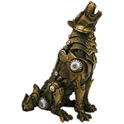 Pacific Giftware Steampunk Howling Alpha Wolf In Rustic Steel and Gears Collectible Fantasy Figurine