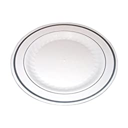 Masterpiece Premium Quality Heavyweight Plastic Plates: 25 Dinner Plates and 25 Salad Plates