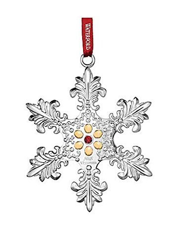 2015 Annual Snowflake Ornament - 2015 Waterford Annual Snowflake with Gold Accents Silver Christmas Ornament