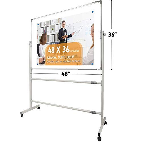Mobile Whiteboard Magnetic White Board-48 x 36 inches, 360° Reversible Double Sided Dry Erase Board Easel Standing on Wheels With Aluminum Frame