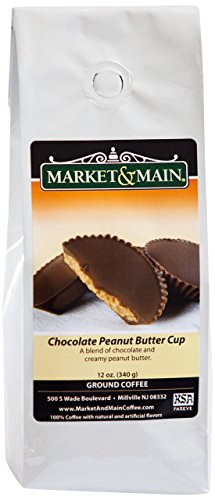 Market & Main Chocolate Peanut Butter Cup Flavored Coffee, 6 Packs, 12 Ounces Each (72 Ounces Total)