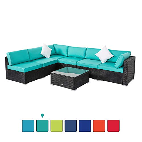Peach Tree Outdoor Furniture Sectional Wicker Sofa Set 7 PCs Patio Rattan, All-Weather Washable Waterproof Tiffany Blue Cushioned, w/Glass Coffee Table, Backyard, Pool (Blue Furniture Wicker Outdoor)