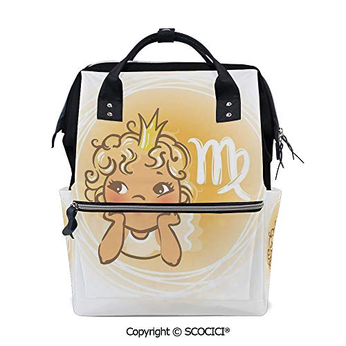 SCOCICI Large Couple Backpack handbag,Baby Zodiac Representation Cute Little Girl with A Crown Angel Cartoon Decorative,Multi Purpose Shoulder Backpack
