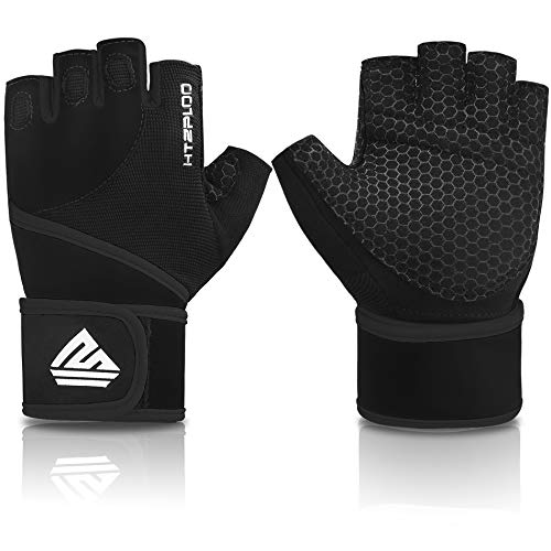 HTZPLOO Workout Gloves Gym Gloves Weight Lifting Gloves with Wrist Wraps,Full Palm Pad & Enhanced Grip for Bodybuilding Training Exercise Gloves Men & Women