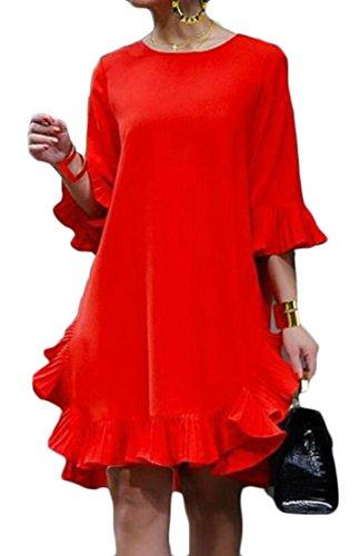 Domple Dress Plain Mini Sleeve Chiffon Womens Ruffle Orange Cocktail 2 Round 1 Neck rPEraqw