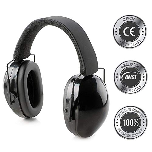 - Hearing Protection Ear Muffs Fully Adjustable Professional Noise Canceling Ear Hearing Protection for Shooting, Firing Range, Yard Work, Woodworking, Fits Adults & Kids- Includes Protective Travel Bag