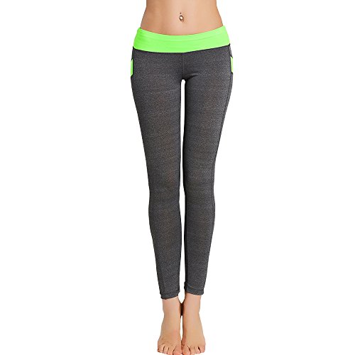 30a23d334bf94 kemilove Women Middle-Waisted Sexy Skinny Leggings Patchwork Push Up Yoga  Pants Green