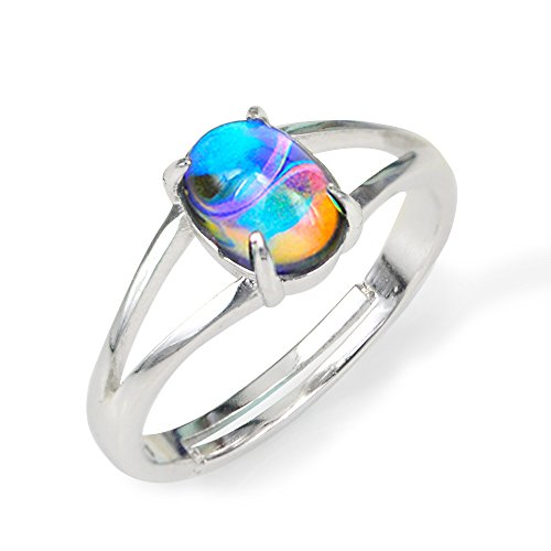 Fun Jewels Ocean's Mystique Marble Pattern Color Changing Oval Stone Mood Ring Size Adjustable