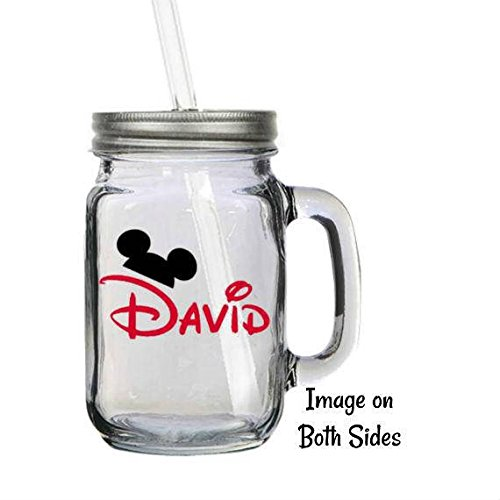 Personalized Disney Mickey Mouse Ears 16oz Glass Mason Jar Mug with Lid & Straw -