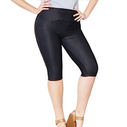 Womens Capri Leggings Plus Size High Waisted Shorts with High Stretchy(3XL,Black)