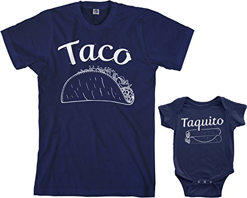 Threadrock Taco & Taquito Infant Bodysuit & Men's T-Shirt Matching Set (Baby: 24M, Navy|Men's: 2XL, Navy)