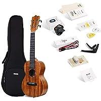 """Enya EUC-70 Concert KOA Ukulele 23"""" Ukulele Starter Kit with String, Tuner, Strap,Fingershaker,Gig bag,Capo,Picks,Polishing cloth (Concert)"""