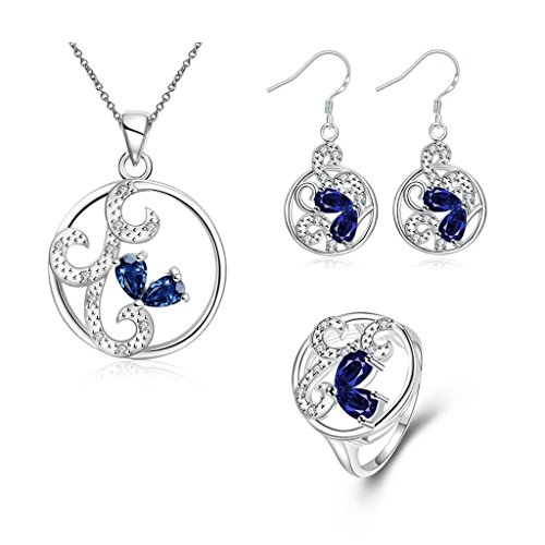 AMDXD Womens Jewelry Sets Earrings Rings Necklace Anklet Silver Plated AAA Elements Size 8