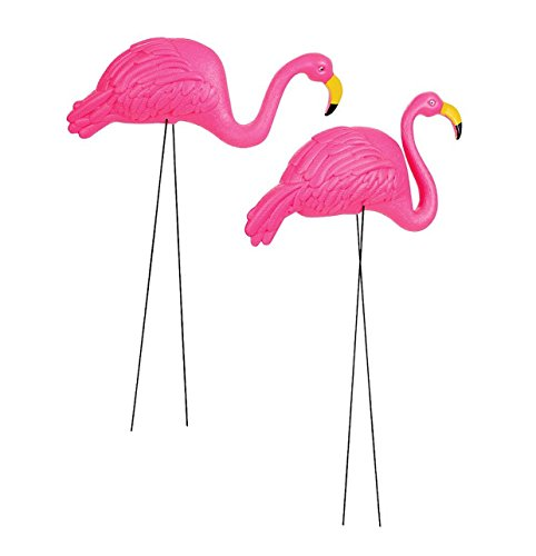 GiftExpress Pack of 2, Large Bright Pink Flamingo Yard Ornament/Flamingo Lawn Ornaments/Ink Flamingo Garden Yard Stakes/Adjustable Feet Length and Gesture]()