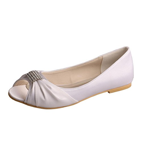 novia Ballet mw1361 Peep boda nbsp;brillantes wedopus hebilla zapatos satén Flats Toe mujeres blanco de 7xwqnfZ