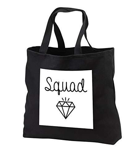 Tory Anne Collections Quotes - Bachelorette Party Bridesmaid T Shirt Tank Top Diamond Squad - Tote Bags - Black Tote Bag JUMBO 20w x 15h x 5d (tb_292529_3) ()