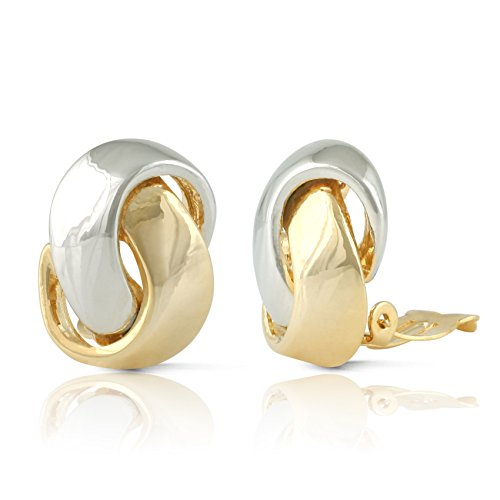 JanKuo Jewelry Two Tone Knot Clip On Earrings