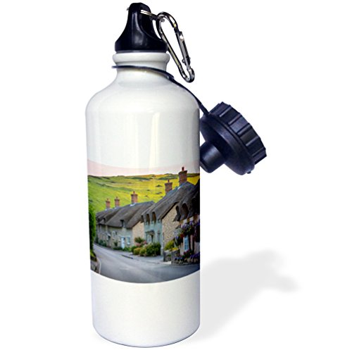 Danita Delimont - Houses - Evening view of thatch roof cottages in West Lulworth, England - 21 oz Sports Water Bottle (wb_227955_1) (Thatch House)
