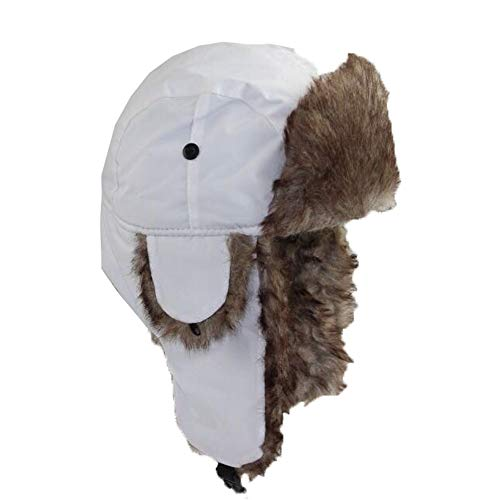 Womens Mens Winter Russian Ushanka Hats Shearling Trapper Aviator Trooper Earflap Ski Hat (White)