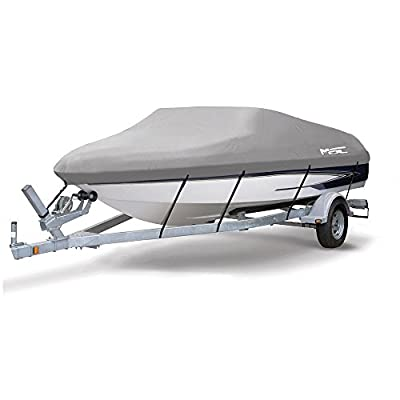 MSC Heavy Duty 300D Marine Grade Polyester Canvas Trailerable Waterproof Boat Cover, Gray,Fits V-Hull,Tri-Hull, Runabout Boat Cover,Full Size Boat Cover
