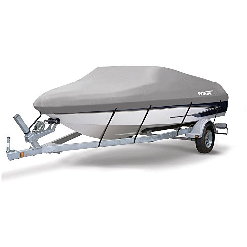 Msc Heavy Duty 300D Marine Grade Polyester Canvas Trailerable Waterproof Boat Cover  Gray Fits V Hull Tri Hull  Runabout Boat Cover  Gray  Model H   Length 23 24 Beam Width  Up To 102
