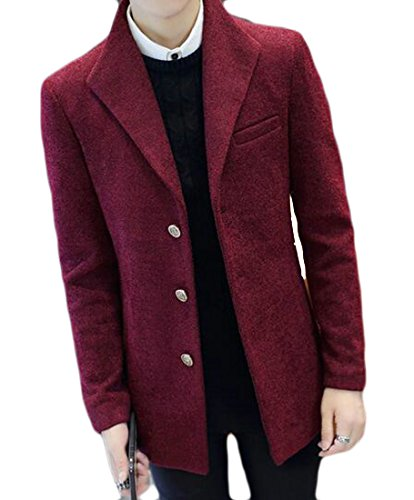 Wool Sleeve Button Jacket Red UK Lapel Blend Three Mens Long today 6wxPXInqOI