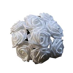 FYYDNZA 10 Heads 8Cm Artificial Rose Flowers Decoration Silk Centerpieces Mint Decorative Pendants Flower P20,White 1